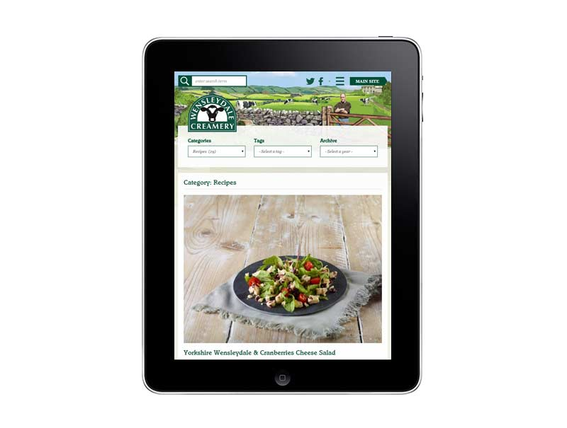 Wensleydale's new blog on a tablet
